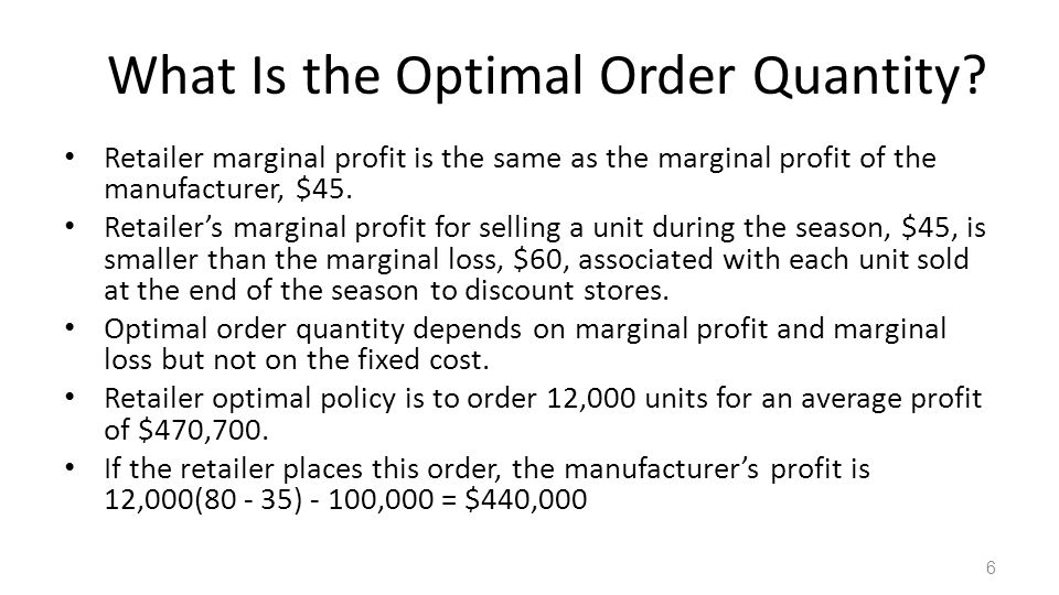 What Is the Optimal Order Quantity