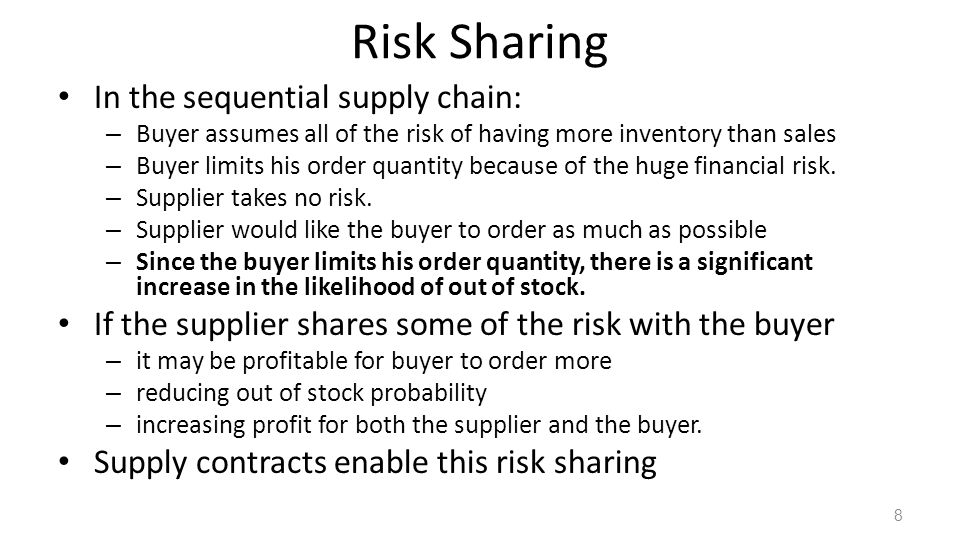 Risk Sharing In the sequential supply chain: