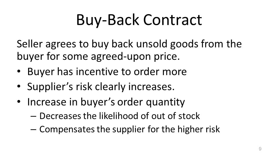 Buy-Back Contract Seller agrees to buy back unsold goods from the buyer for some agreed-upon price.