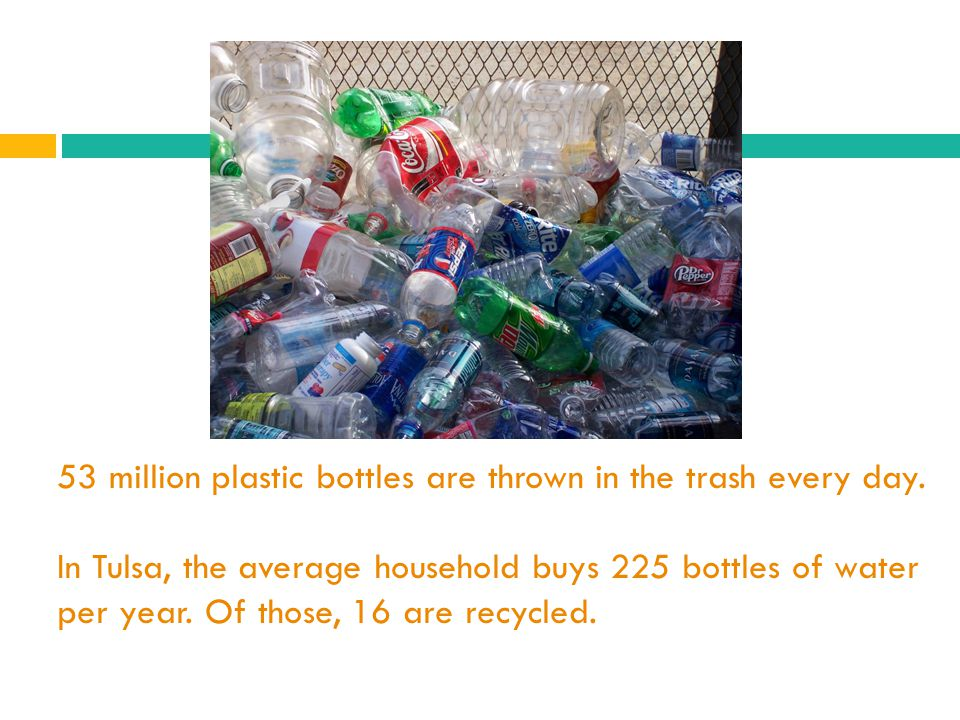 53 million plastic bottles are thrown in the trash every day.