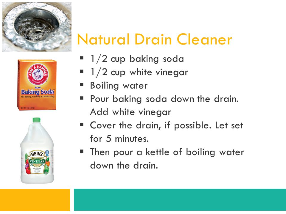 Natural Drain Cleaner 1/2 cup baking soda 1/2 cup white vinegar
