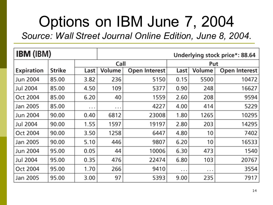 Options on IBM June 7, 2004 Source: Wall Street Journal Online Edition, June 8, 2004.