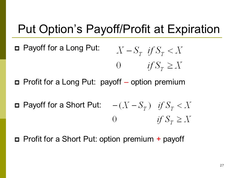 Put Option's Payoff/Profit at Expiration