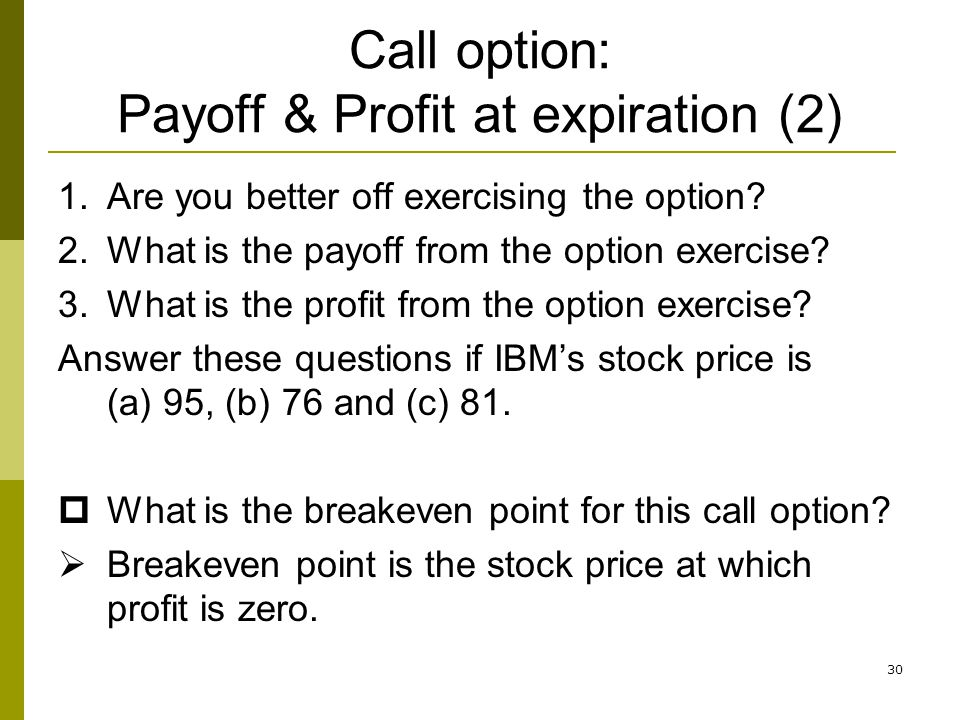 Call option: Payoff & Profit at expiration (2)