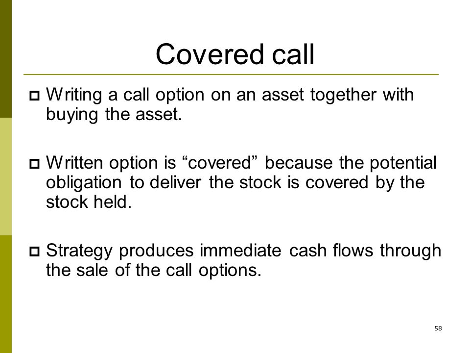 Writing covered call options strategy