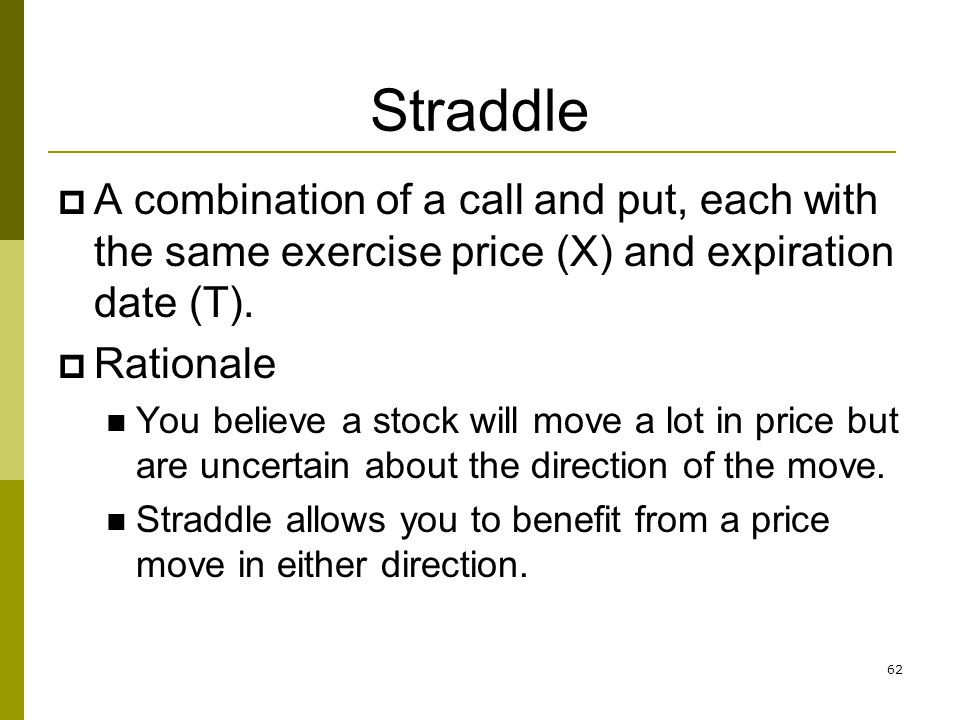 Straddle A combination of a call and put, each with the same exercise price (X) and expiration date (T).