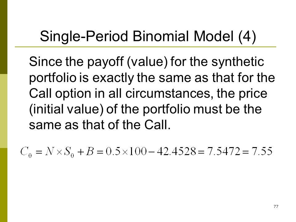 Single-Period Binomial Model (4)