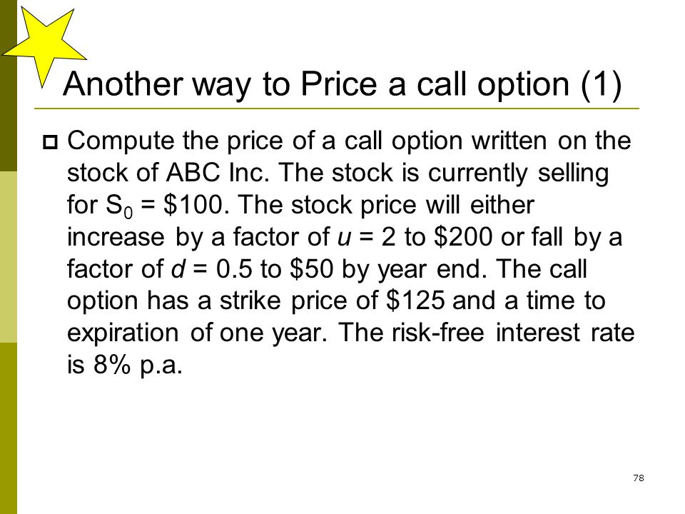 Another way to Price a call option (1)