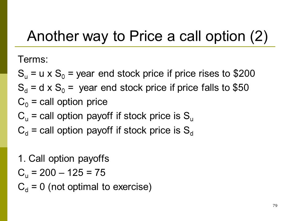Another way to Price a call option (2)