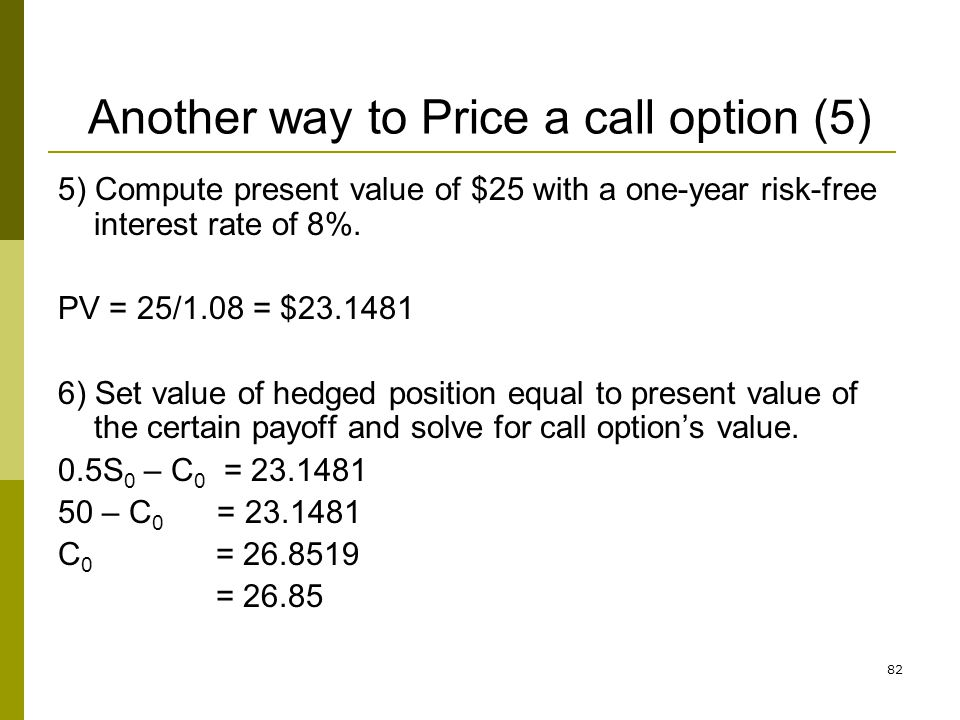 Another way to Price a call option (5)