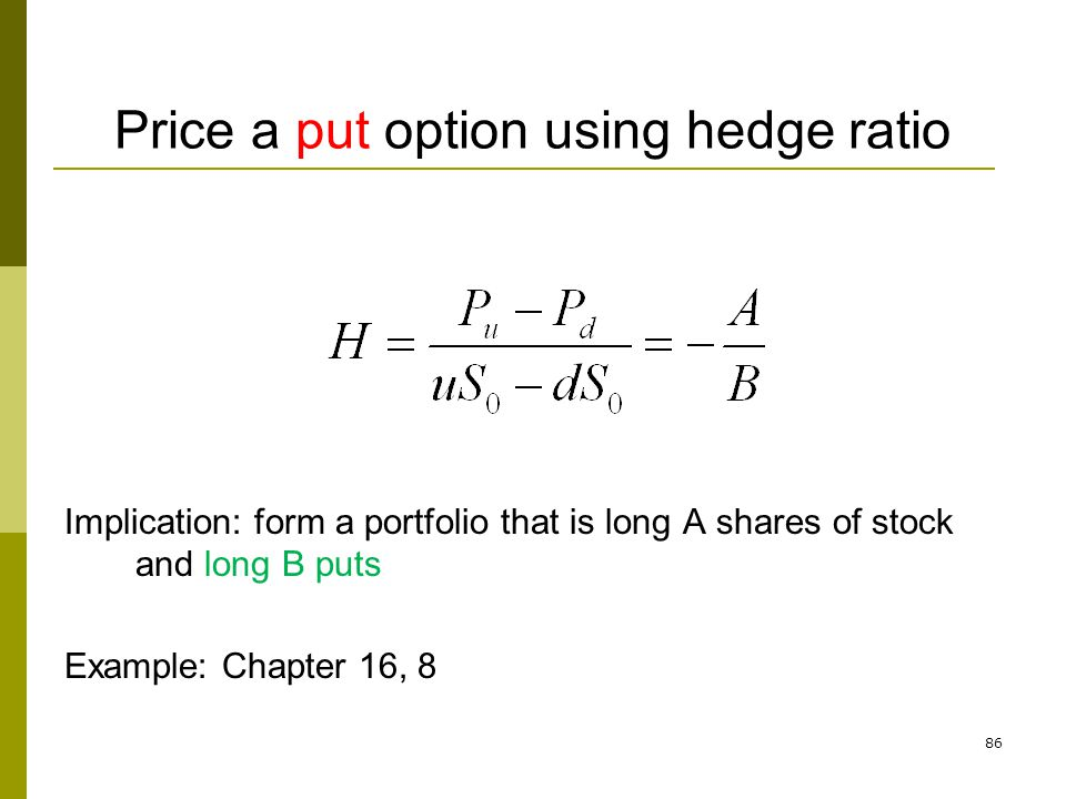 Price a put option using hedge ratio