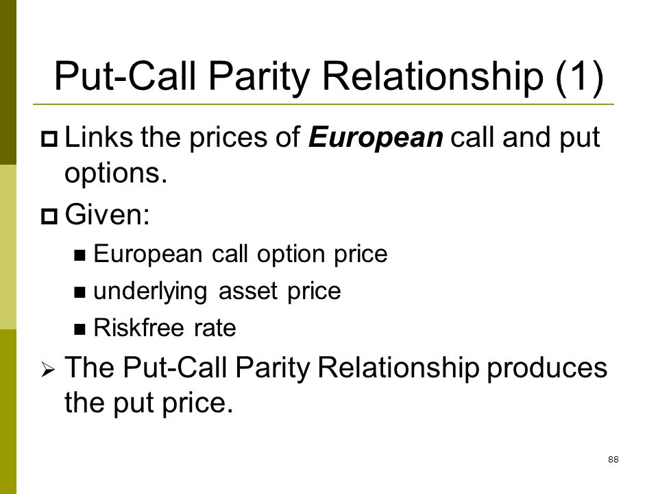 Put-Call Parity Relationship (1)