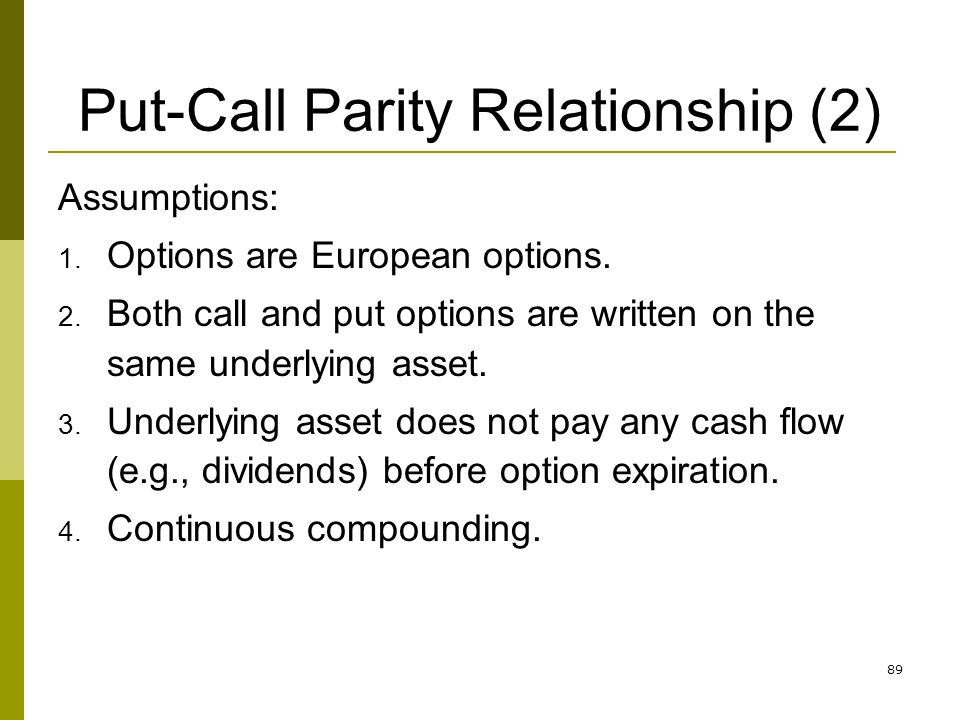 Put-Call Parity Relationship (2)