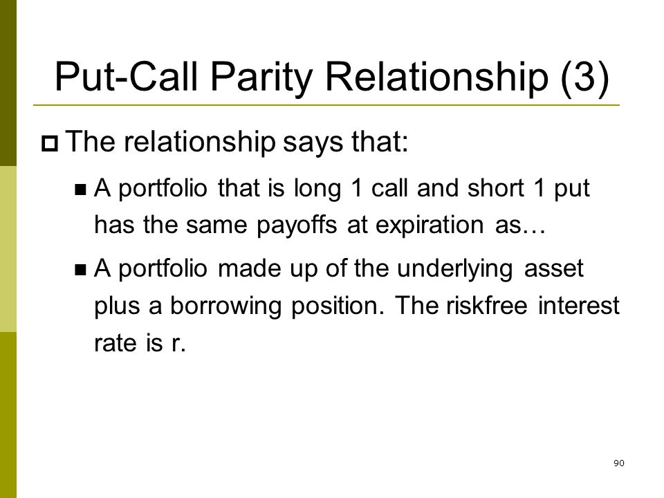 Put-Call Parity Relationship (3)