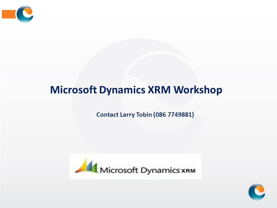 Microsoft Dynamics XRM Workshop