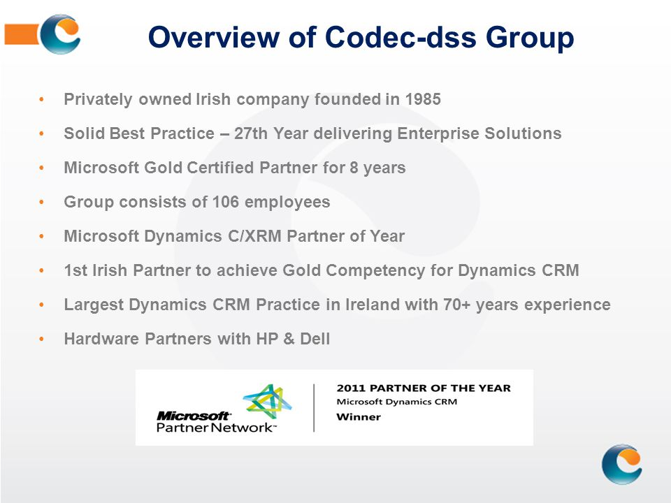 Overview of Codec-dss Group