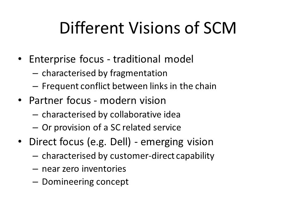 Different Visions of SCM