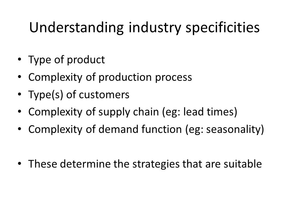 Understanding industry specificities