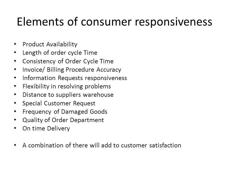 Elements of consumer responsiveness
