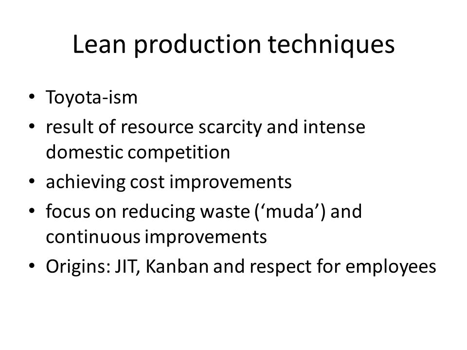 Lean production techniques