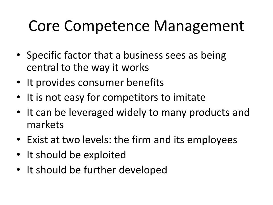 Core Competence Management