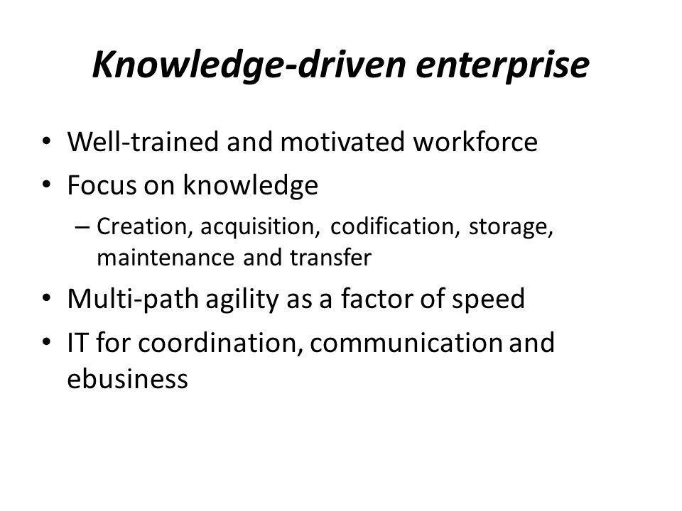 Knowledge-driven enterprise