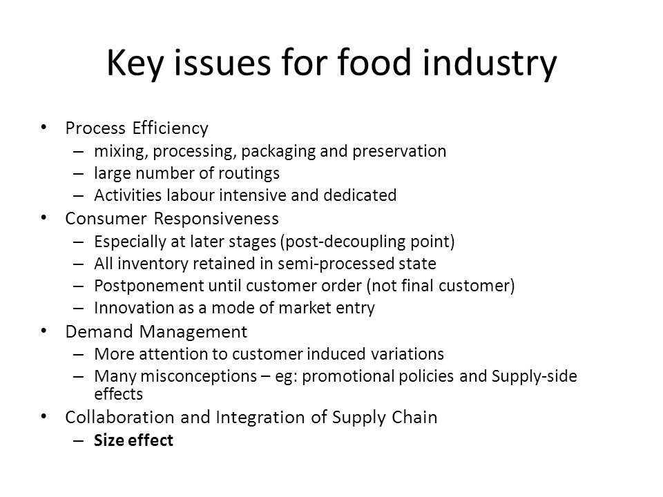 Key issues for food industry