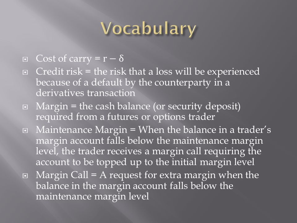 Vocabulary Cost of carry = r−δ
