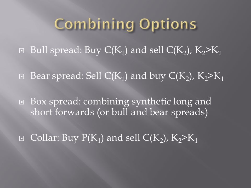 Combining Options Bull spread: Buy C(K1) and sell C(K2), K2>K1