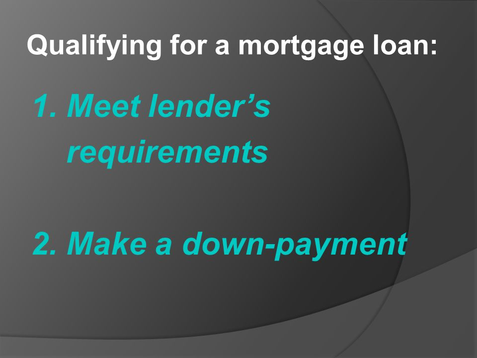 Qualifying for a mortgage loan: