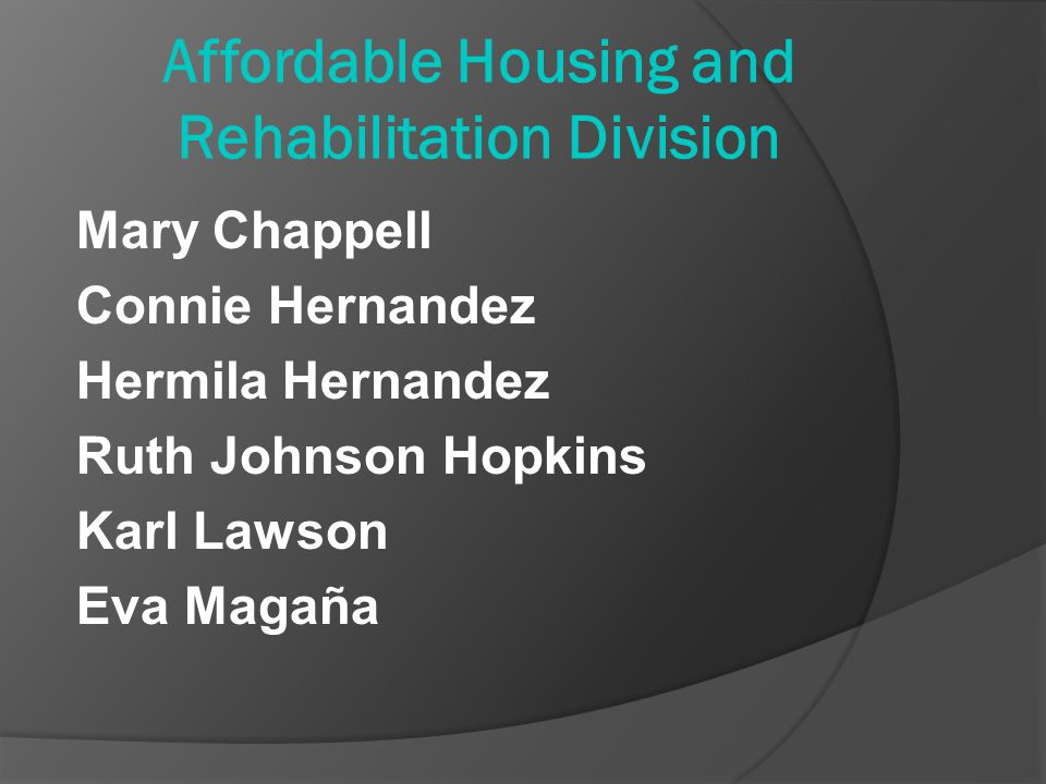 Affordable Housing and Rehabilitation Division