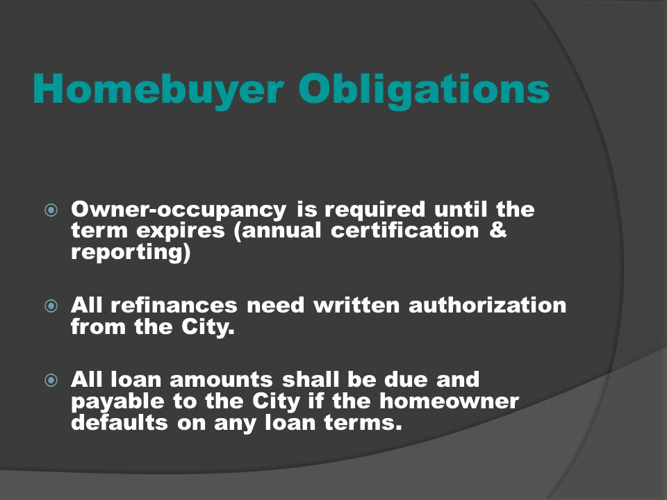 Homebuyer Obligations