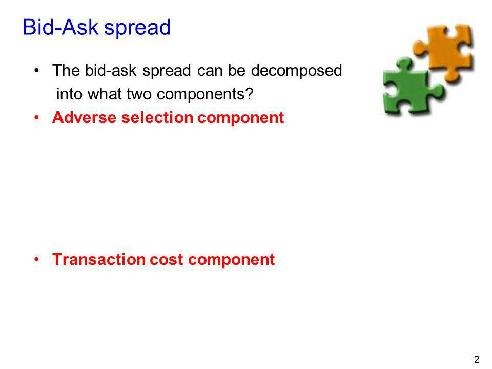 Bid-Ask spread The bid-ask spread can be decomposed
