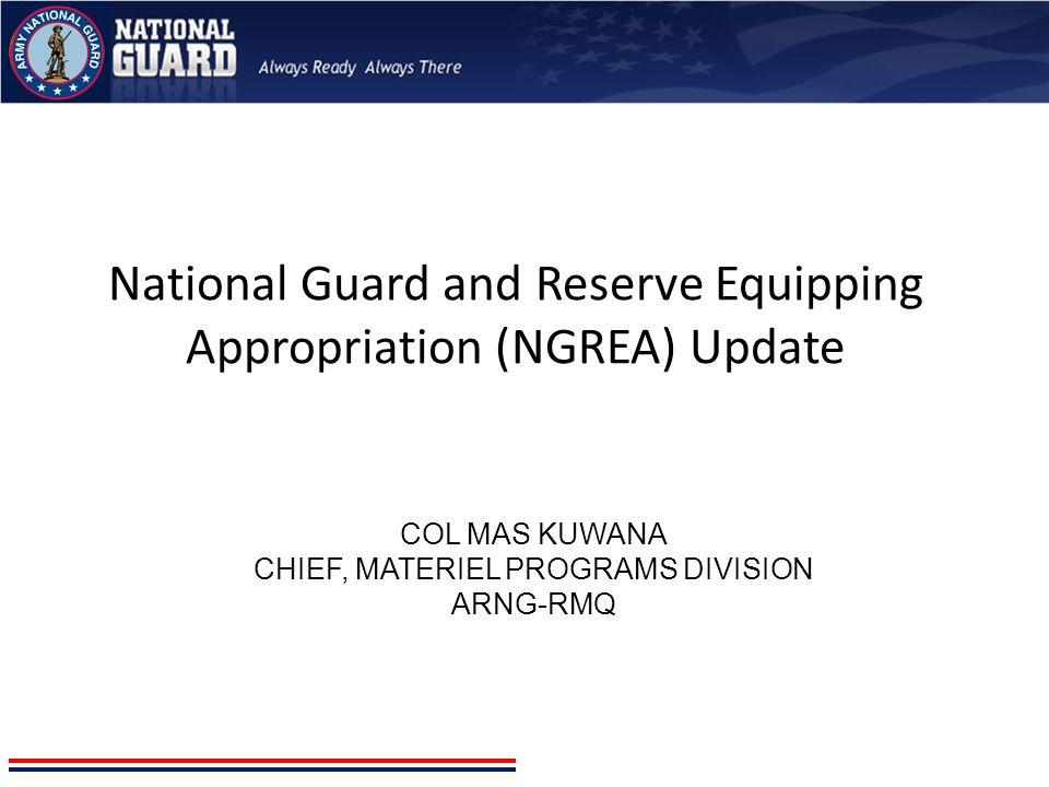 COL Mas Kuwana Chief, Materiel programs division ARNG-RMQ