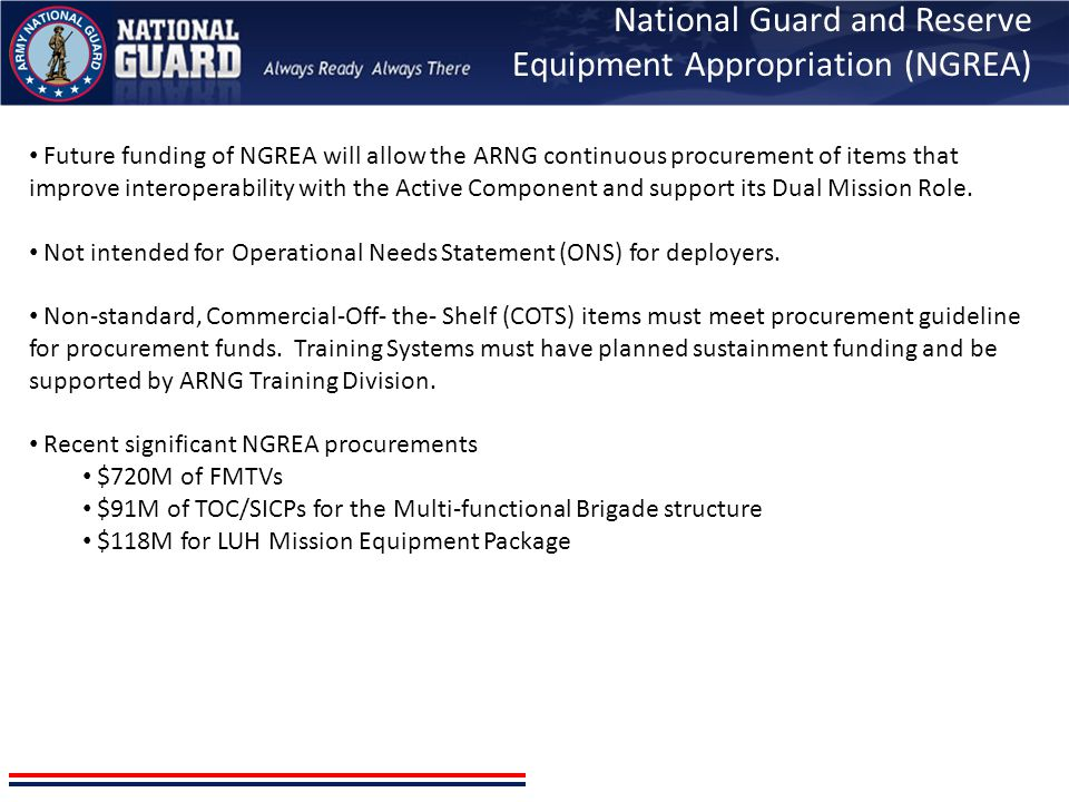 National Guard and Reserve Equipment Appropriation (NGREA)
