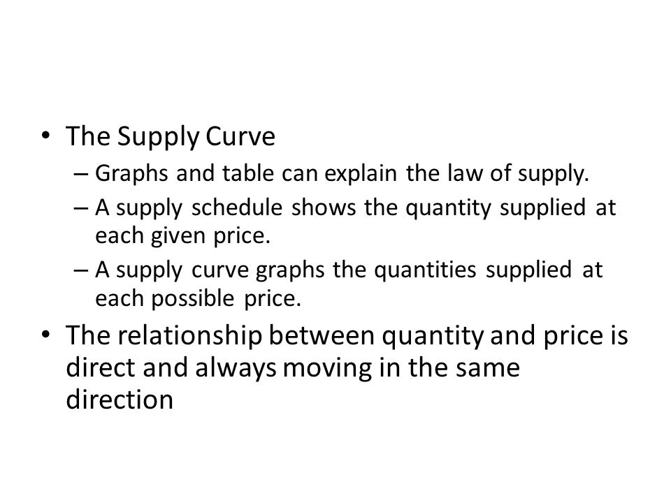 The Supply Curve Graphs and table can explain the law of supply. A supply schedule shows the quantity supplied at each given price.