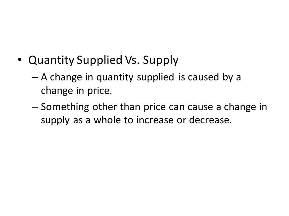 Quantity Supplied Vs. Supply