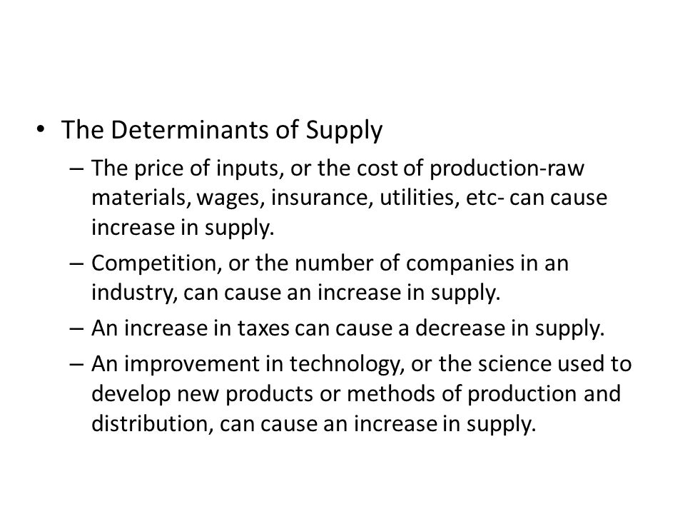 The Determinants of Supply