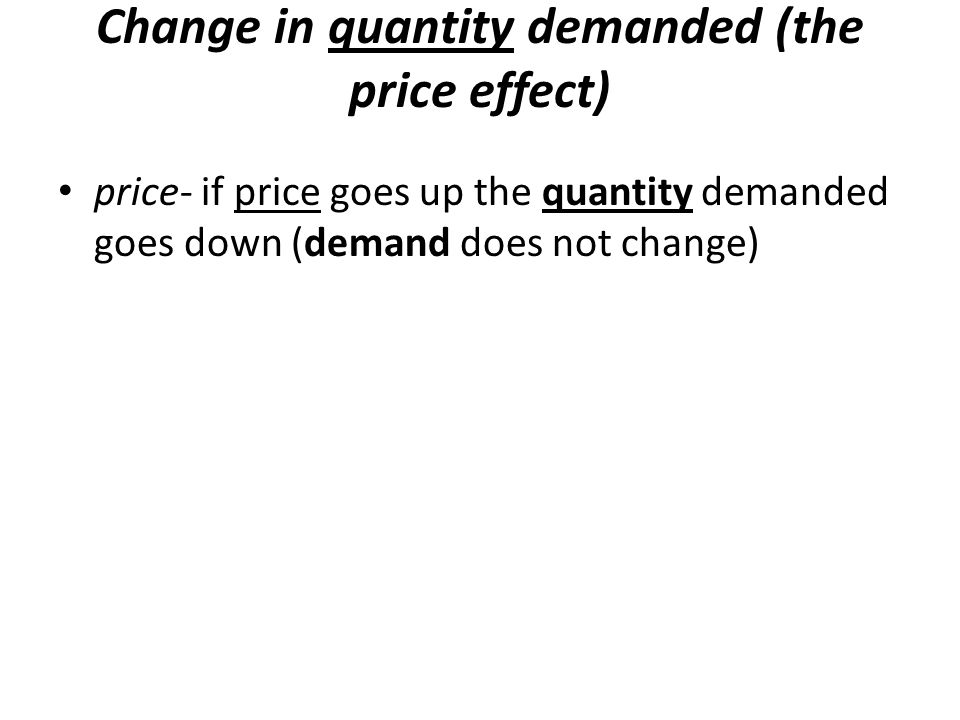 Change in quantity demanded (the price effect)