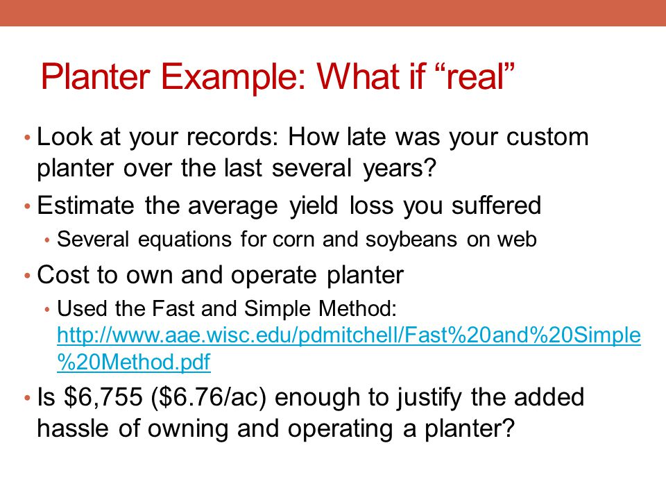 Planter Example: What if real