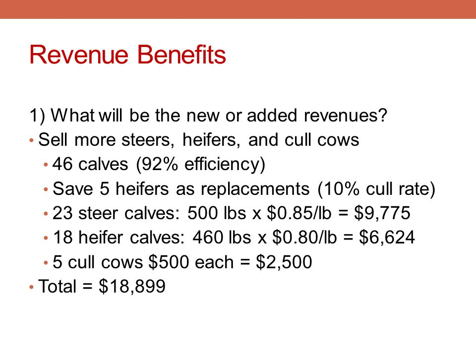 Revenue Benefits 1) What will be the new or added revenues