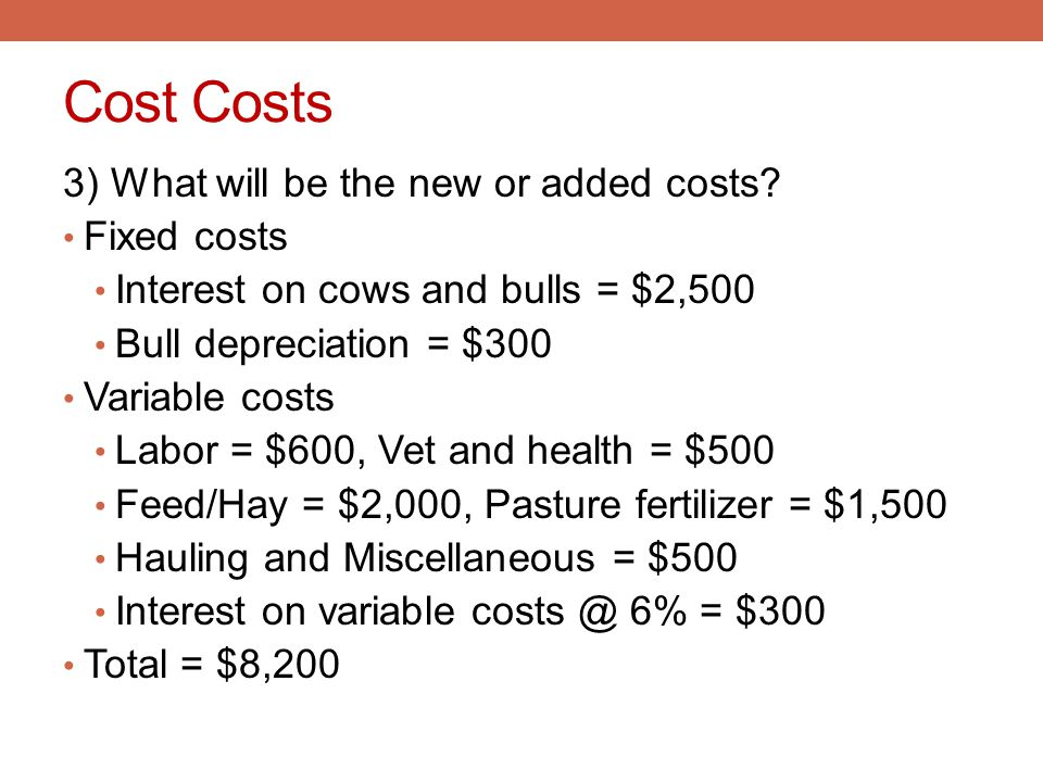 Cost Costs 3) What will be the new or added costs Fixed costs