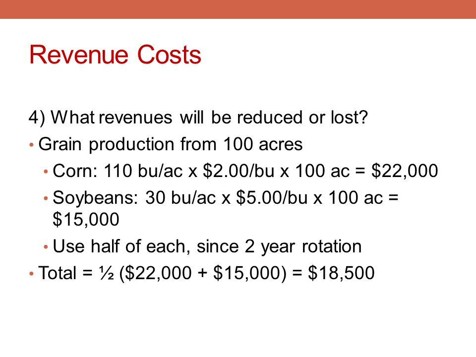 Revenue Costs 4) What revenues will be reduced or lost