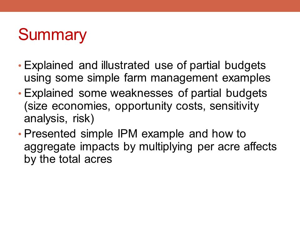 Summary Explained and illustrated use of partial budgets using some simple farm management examples.