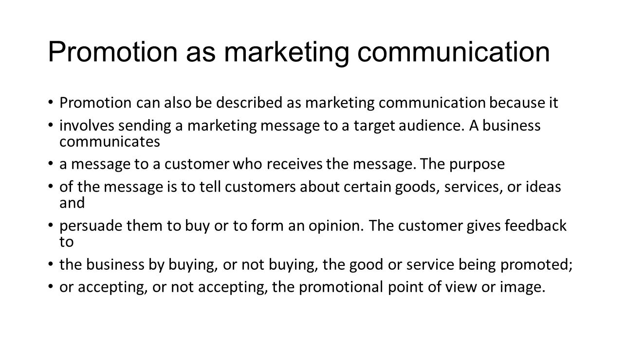 Promotion as marketing communication