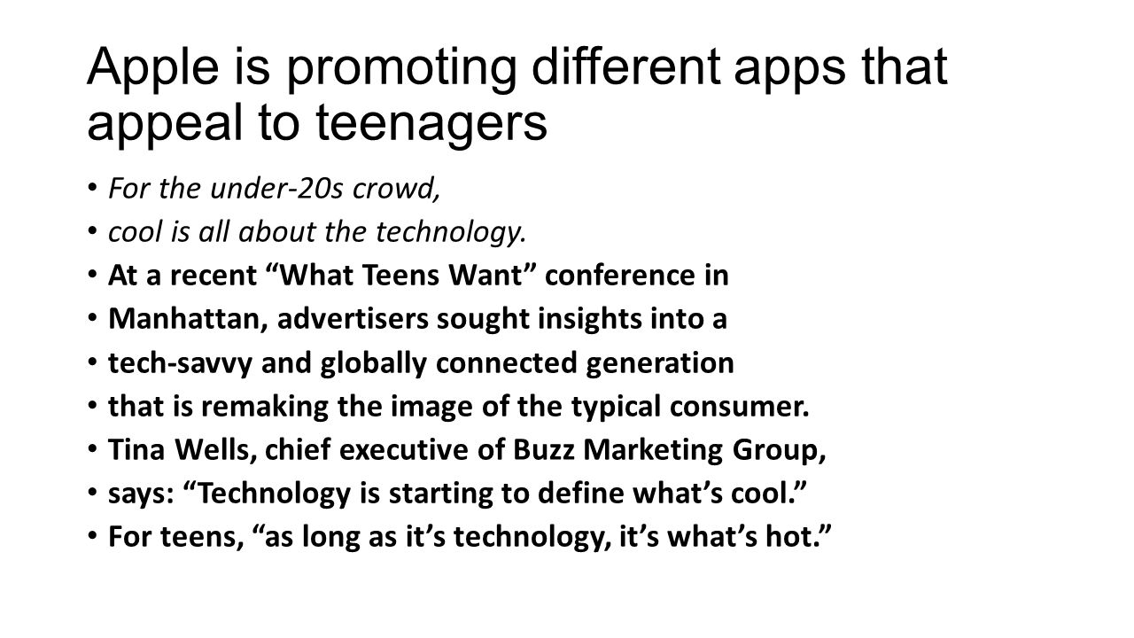 Apple is promoting different apps that appeal to teenagers