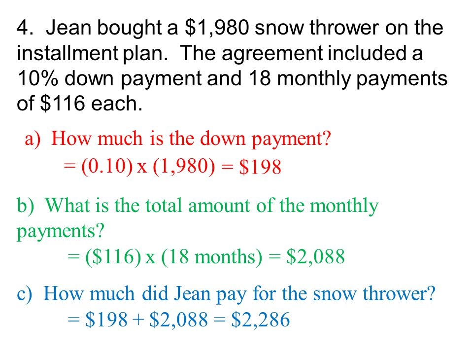 4. Jean bought a $1,980 snow thrower on the installment plan