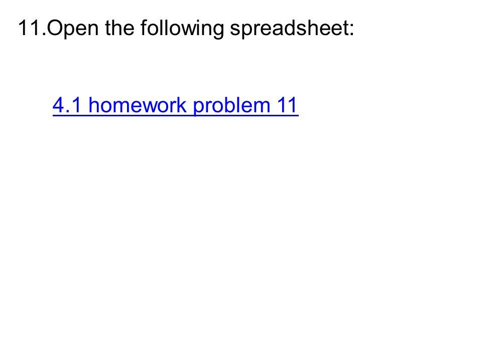 Open the following spreadsheet: