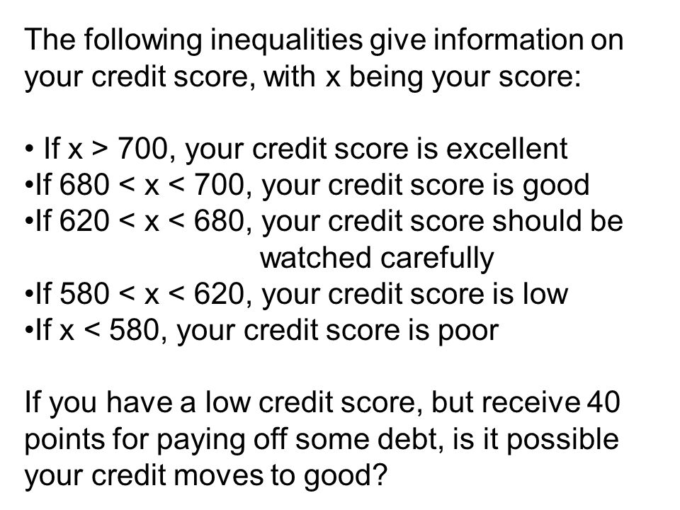 The following inequalities give information on your credit score, with x being your score: