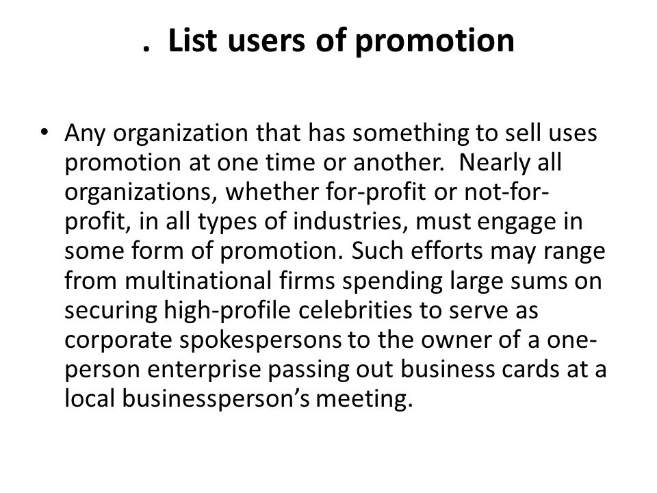 . List users of promotion